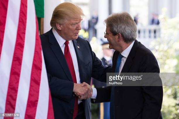 President Trump welcomed Prime Minister Paolo Gentiloni of Italy at the West Wing Portico of the White House On Thursday April 20 2017
