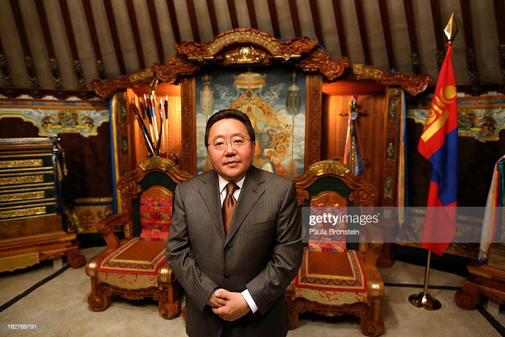President <a gi-track='captionPersonalityLinkClicked' href=/galleries/search?phrase=Tsakhiagiin+Elbegdorj&family=editorial&specificpeople=5427078 ng-click='$event.stopPropagation()'>Tsakhiagiin Elbegdorj</a> poses in the official Ger, used for his diplomatic meetings with heads of state on October 25, 2012 in Ulaanbataar, Mongolia. President <a gi-track='captionPersonalityLinkClicked' href=/galleries/search?phrase=Tsakhiagiin+Elbegdorj&family=editorial&specificpeople=5427078 ng-click='$event.stopPropagation()'>Tsakhiagiin Elbegdorj</a> was elected on May 25, 2009, having previously served two terms as Prime Minister and holding the positions of Deputy Speaker and Majority Leader in Parliament. The First Lady, Bolormaa Khajidsuren, is a mother of 4 children, and the extended Presidential family includes 20 foster children coming from a variety of government children's homes. Some 100 years ago, Mongolia gained independence from Qing China, and more than 20 years ago it removed itself from the Soviet Bloc. Since then, the country has been undergoing massive social, economic and political changes. The Oyu Tolgoi copper and gold mine is Mongolia's biggest foreign investment project to date adding an estimated 35% value to the country's GDP. Mongolia is the most sparsely populated country on earth with fewer than 3 million people.