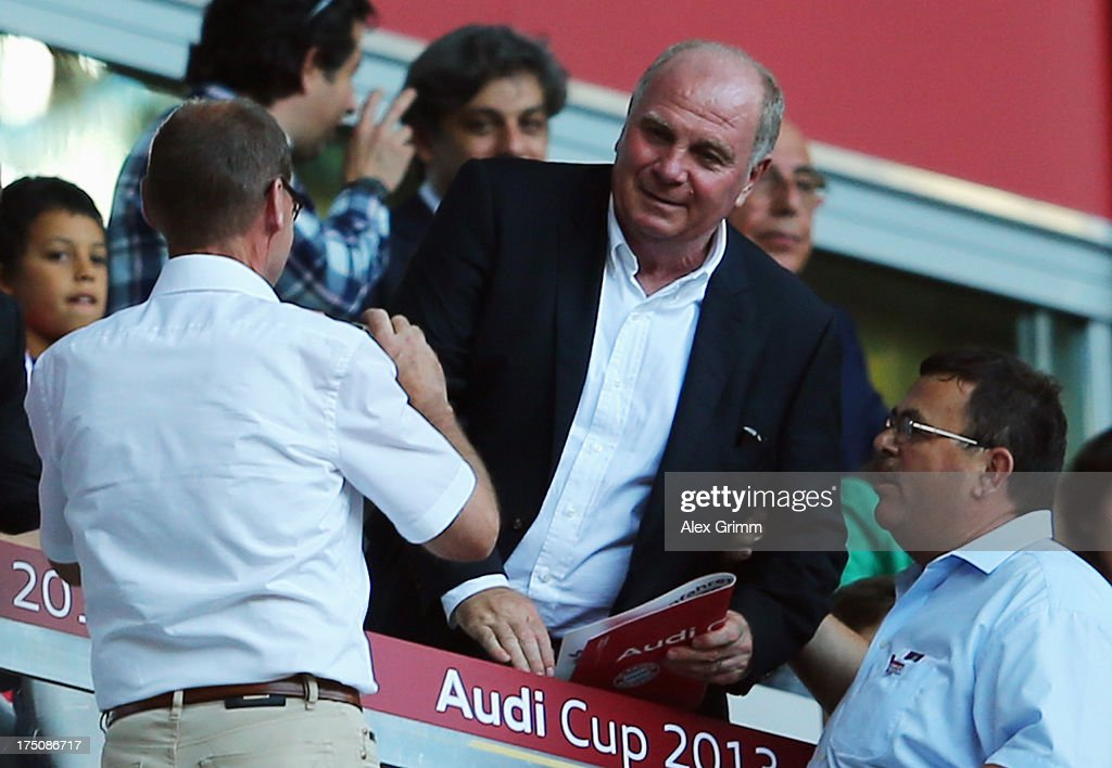President <a gi-track='captionPersonalityLinkClicked' href=/galleries/search?phrase=Uli+Hoeness&family=editorial&specificpeople=634868 ng-click='$event.stopPropagation()'>Uli Hoeness</a> of Muenchen attends the Audi Cup match between Manchester City and AC Milan at Allianz Arena on July 31, 2013 in Munich, Germany.