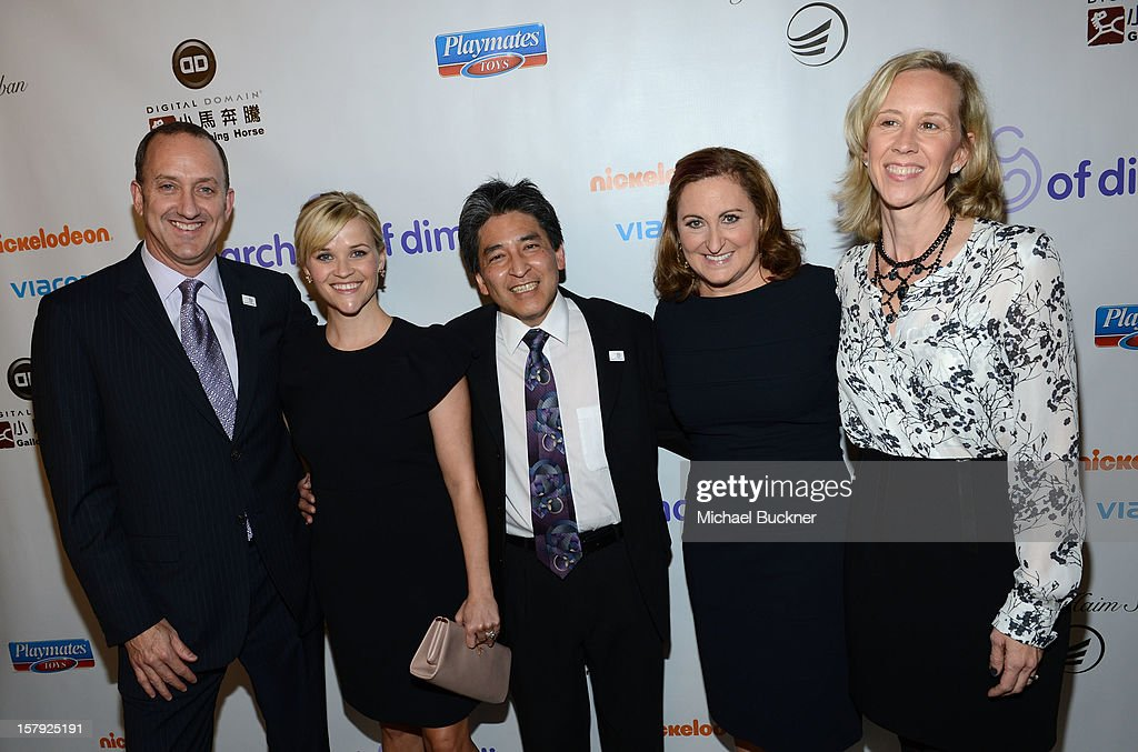 President, Universal Pictures Jimmy Horowitz, honorees Reese Witherspoon, Bryan Oshiro M.D. and Cyma Zarghami and Executive Vice President of Nickelodeon Paula Kaplan attend the 7th Annual March of Dimes Celebration of Babies, a Hollywood Luncheon, at the Beverly Hills Hotel on December 7, 2012 in Beverly Hills, California.