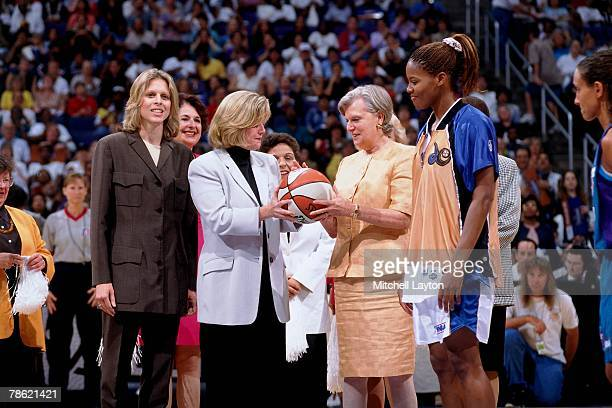 WNBA president Val Ackerman poses for a photo with Tipper Gore wife of Vice President Al Gore during a 1998 WNBA game between the Washington Mystics...