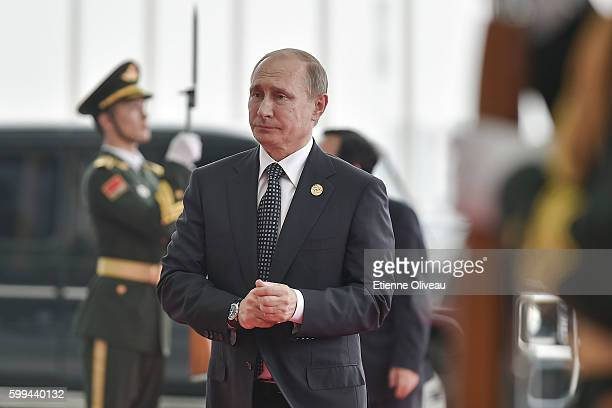 President Vladimir Putin of Russia arrives at the Hangzhou Exhibition Center to participate in G20 Summit on September 4 2016 in Hangzhou China World...