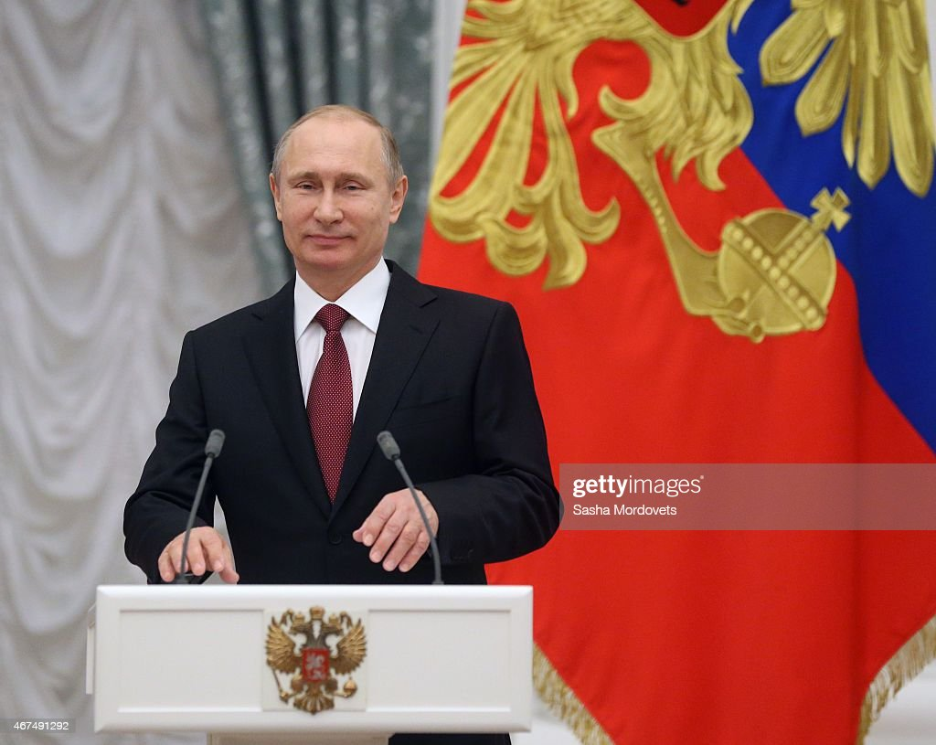 President Vladimir Putin of Russia speaks at the 2014 Presidential Prize For Young Cultural Professionals ceremony at the Kremlin on March 25, 2015 in Moscow, Russia.