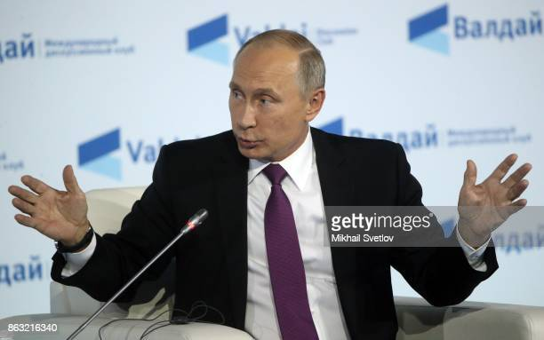 President Vladimir Putin speaks at a meeting with the Valdai Discussion Club members on October 2017 in Sochi Russia