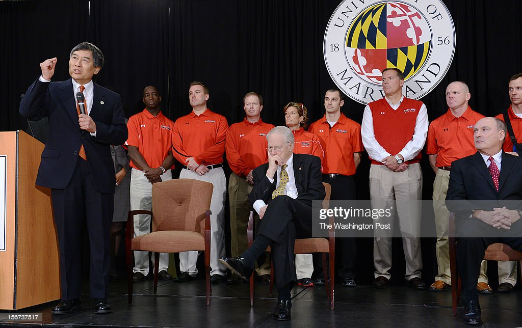 President Wallace Loh, left, makes remarks during a press conference to address the news that the University of Maryland will join the Big 10 college sports division on November, 19, 2012 in College Park, MD.
