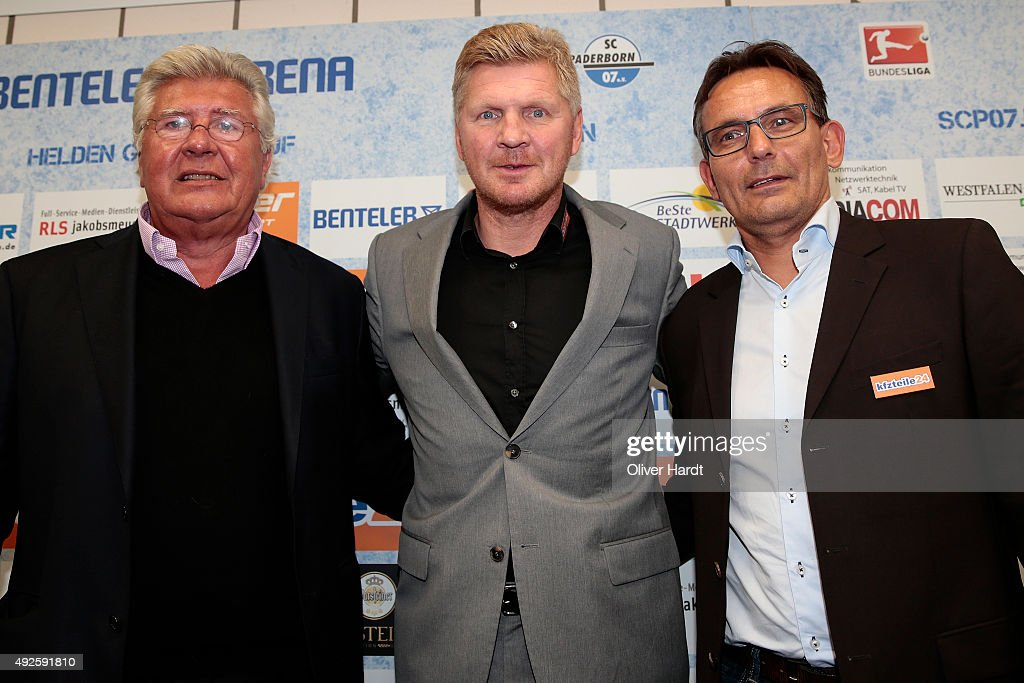 President Wilfried Finke New Manager Stefan Effenberg and Michael Born of SC Paderborn poses during the press conference at Benteler Arena on October...