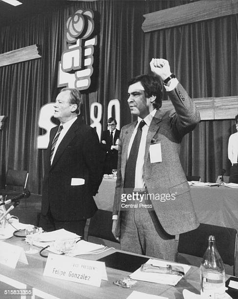 President Willy Brandt and Vice President Felipe Gonzalez celebrating following their reelection at the XV International Socialist Congress Madrid...