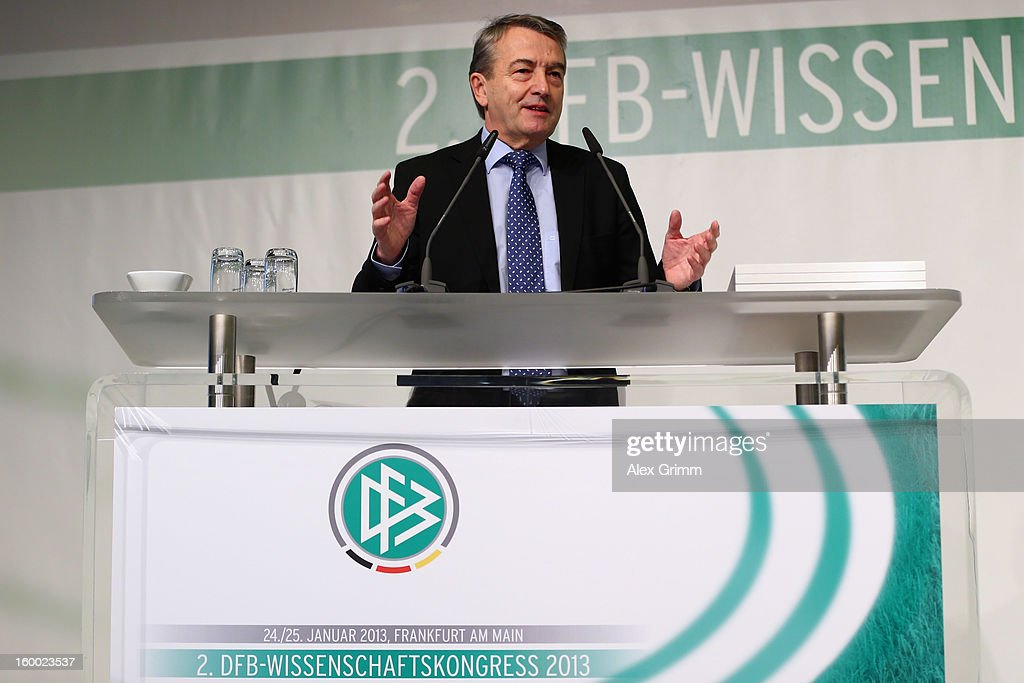 DFB president Wolfgang Niersbach addresses the DFB Science Congress 2013 at the Steigenberger Airport Hotel on January 25, 2013 in Frankfurt am Main, Germany.