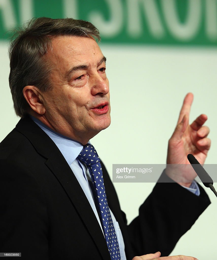 DFB president <a gi-track='captionPersonalityLinkClicked' href=/galleries/search?phrase=Wolfgang+Niersbach&family=editorial&specificpeople=555796 ng-click='$event.stopPropagation()'>Wolfgang Niersbach</a> addresses the DFB Science Congress 2013 at the Steigenberger Airport Hotel on January 25, 2013 in Frankfurt am Main, Germany.