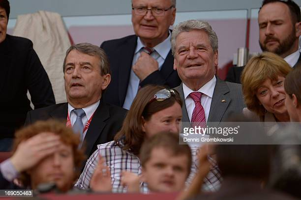 DFB president Wolfgang Niersbach and German Federal President Joachim Gauck attend the Women's DFB Cup Final between VfL Wolfsburg and 1 FFC Turbine...