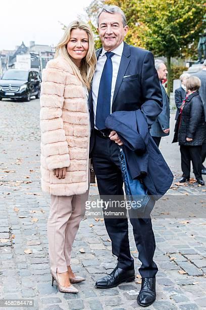 President Wolfgang Niersbach and Marion Popp arrives ahead of being appointed as Honorary Senator by Wine Senate Binger Maeuseturm on November 2 2014...