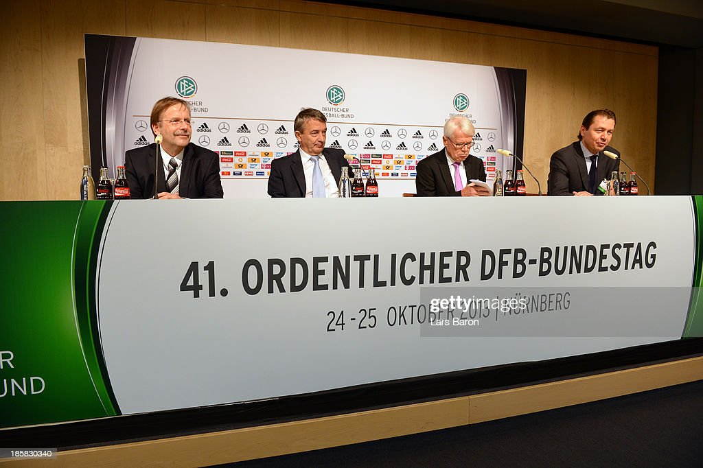 DFB president Wolfgang Niersbach, DFB vice president Rainer Koch and DFL league president Rainer Rauball are seen during a press conference after the DFB Bundestag at NCC Nuremberg on October 25, 2013 in Nuremberg, Germany.