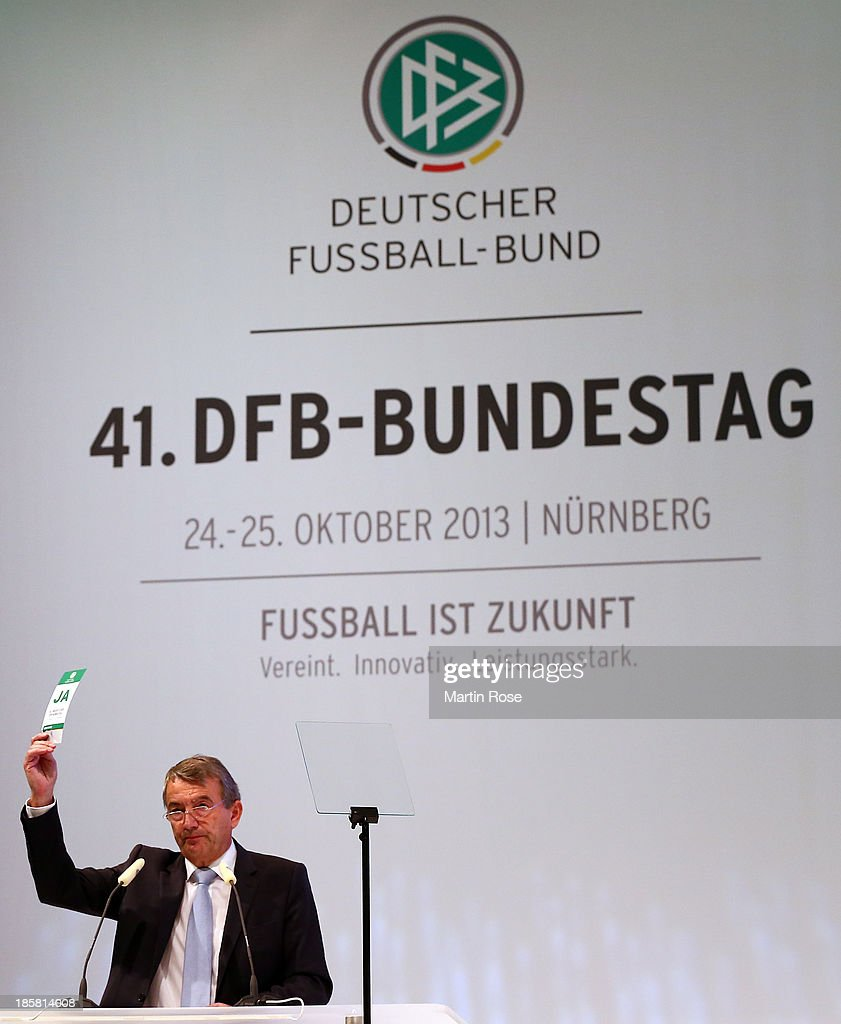 DFB president Wolfgang Niersbach is seen during an election during the DFB Bundestag at NCC Nuremberg on October 25, 2013 in Nuremberg, Germany.