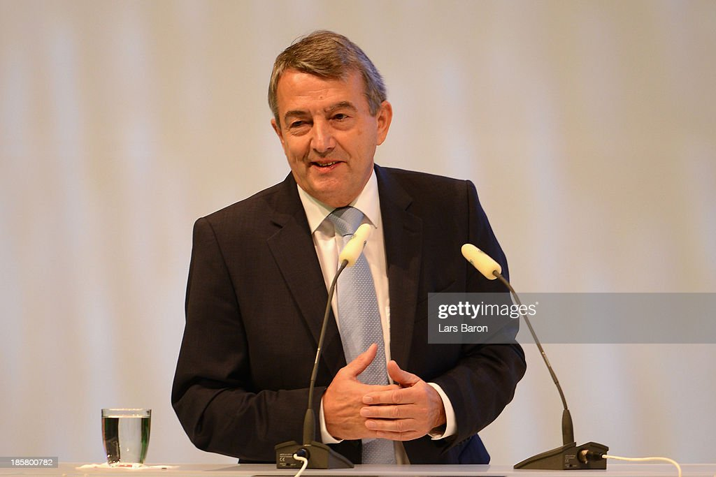 DFB president Wolfgang Niersbach opens the DFB Bundestag Day 2 at NCC Nuremberg on October 25, 2013 in Nuremberg, Germany.