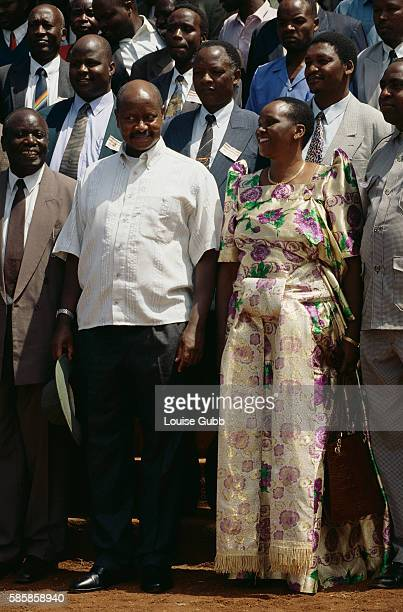 President Yoweri Museveni and his wife Janet attend a Sabiny Culture Day event in Kapchorwa Uganda to speak against female circumcision While a...