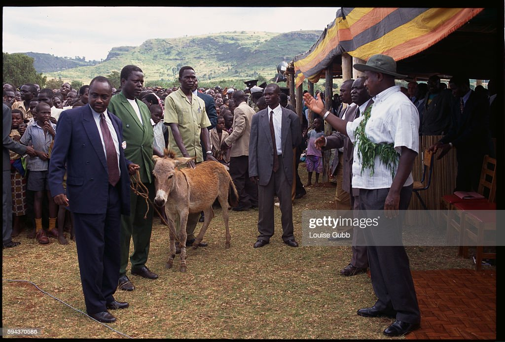 President Yoweri Museveni receives a donkey as a gift during a Sabiny Culture Day event in Kapchorwa Uganda where his is speaking against female...