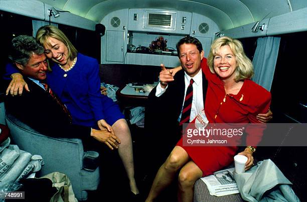 Presidental candidate Bill Clinton with his wife Hillary and Vice Presidenal candidate Al Gore with his wife Tipper are shown in this 1992 file photo...