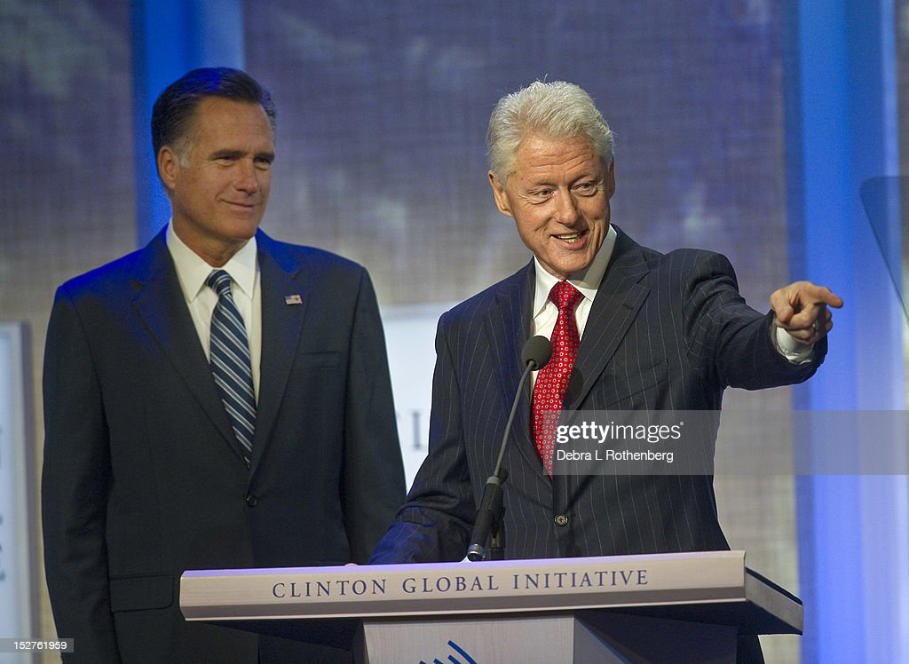 Presidental Candidate Mitt Romney and President Bill Clinton attend the Clinton Global Initiative 2012 at the New York Sheraton Hotel & Tower on September 25, 2012 in New York City.