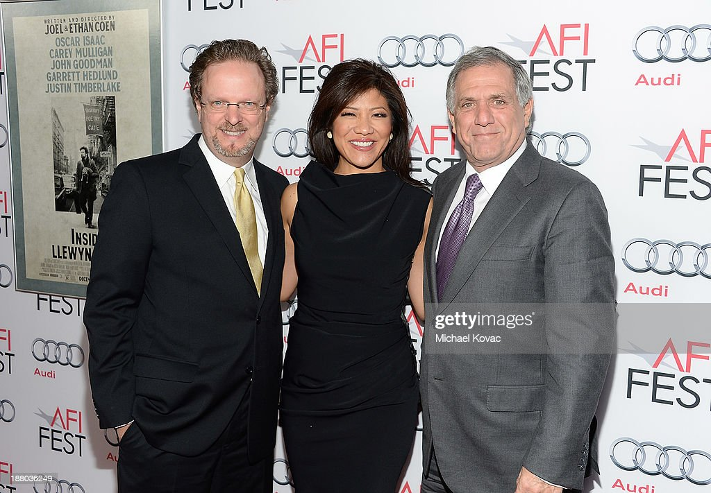 AFI President/CEO Bob Gazzale, President of CBS Leslie Moonves, and host Julie Chen attend the AFI FEST 2013 presented by Audi closing night gala screening of 'Inside Llewyn Davis' at TCL Chinese Theatre on November 14, 2013 in Hollywood, California.