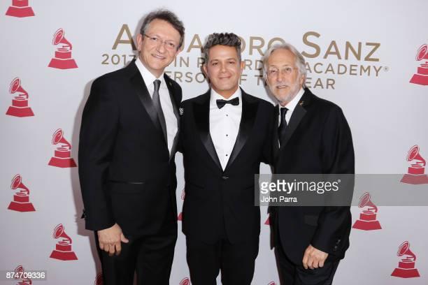 President/CEO of The Latin Recording Academy Gabriel Abaroa honoree Alejandro Sanz and Recording Academy President/CEO Neil Portnow attend the 2017...