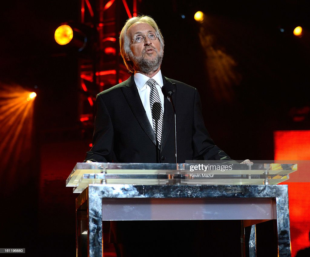President/CEO of the MusiCares Foundation and The Recording Academy Neil Portnow speaks onstage at MusiCares Person Of The Year Honoring Bruce Springsteen at Los Angeles Convention Center on February 8, 2013 in Los Angeles, California.