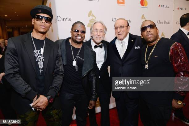 President/CEO of The Recording Academy and GRAMMY Foundation President/CEO Neil Portnow and host Clive Davis pose with recording artists Ronnie DeVoe...
