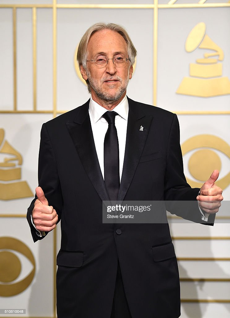President/CEO of The Recording Academy and MusiCares Neil Portnow poses in the press room during The 58th GRAMMY Awards at Staples Center on February 15, 2016 in Los Angeles, California.