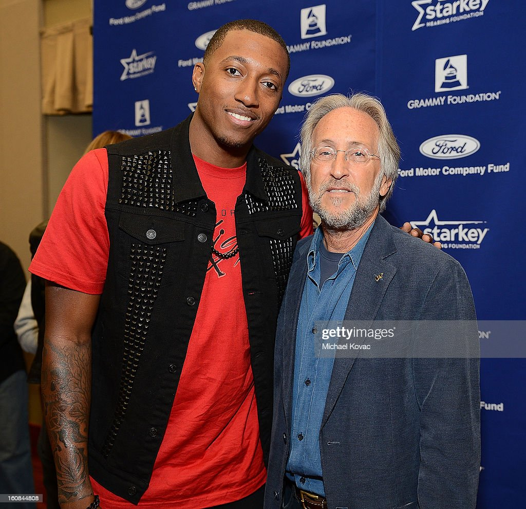 President/CEO of The Recording Academy Neil Portnow (R) and musician Lecrae attend GRAMMY Camp Basic Training on February 6, 2013 in Los Angeles, California.