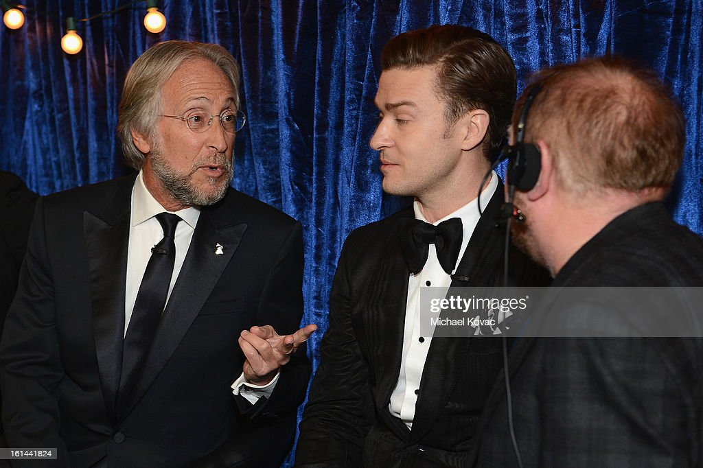 President/CEO of The Recording Academy Neil Portnow and Singer Justin Timberlake attend the 55th Annual GRAMMY Awards at STAPLES Center on February 10, 2013 in Los Angeles, California.