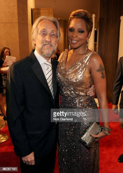 President/CEO of the Recording Academy Neil Portnow and singer Mary J Blige arrive at the 52nd Annual GRAMMY Awards Salute To Icons Honoring Doug...
