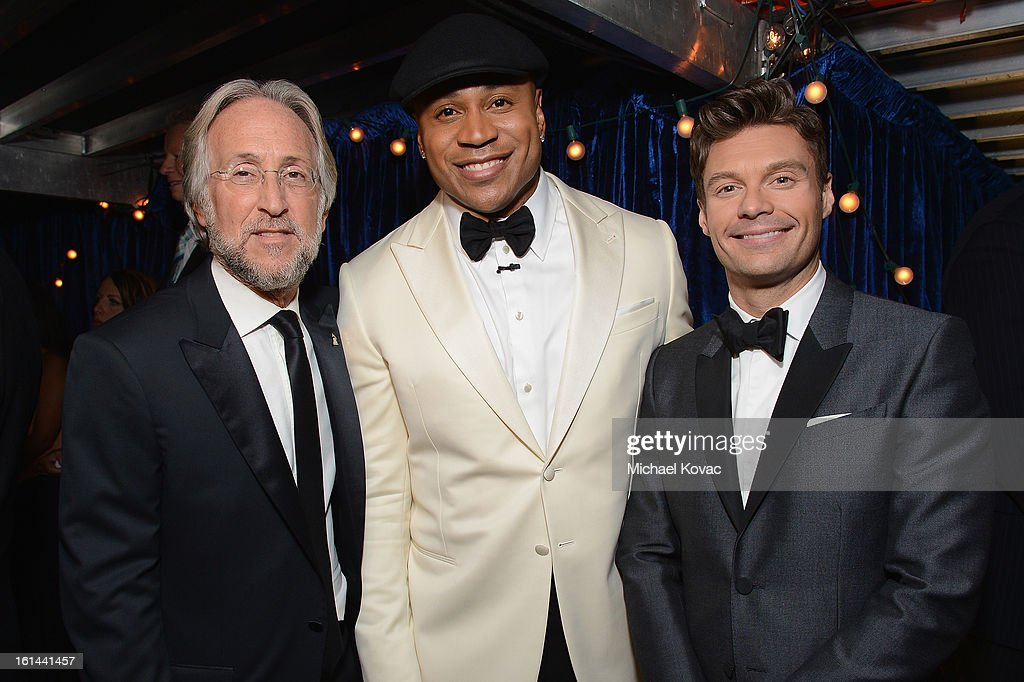 President/CEO of The Recording Academy Neil Portnow, host LL Cool J, and TV personality Ryan Seacrest attend the 55th Annual GRAMMY Awards at STAPLES Center on February 10, 2013 in Los Angeles, California.