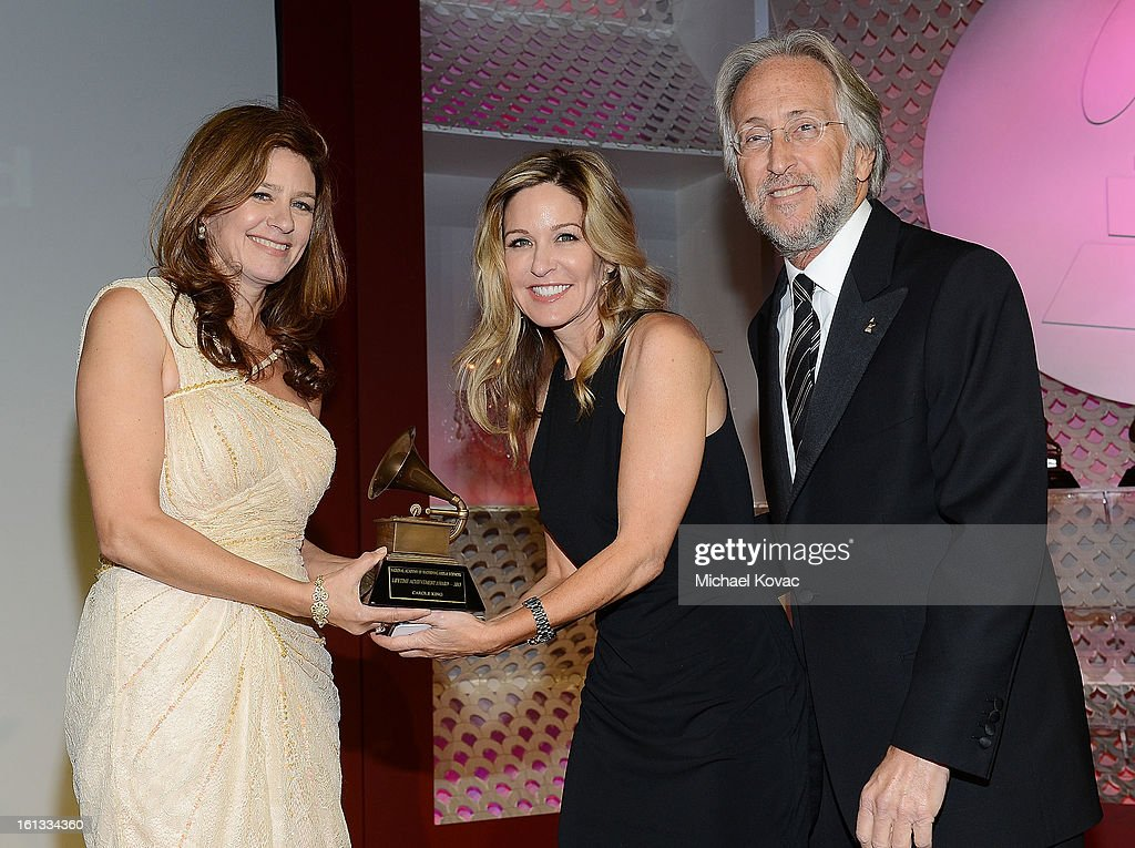 President/CEO of The Recording Academy Neil Portnow presents recording artists Louise Goffin and Sherry Kondor with a Lifetime Achievement Award for...