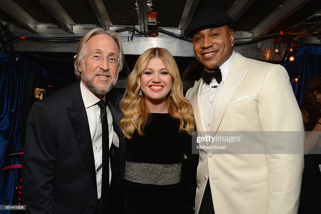 President/CEO of The Recording Academy Neil Portnow, singer Kelly Clarkson, and host LL Cool J, attend the 55th Annual GRAMMY Awards at STAPLES Center on February 10, 2013 in Los Angeles, California.