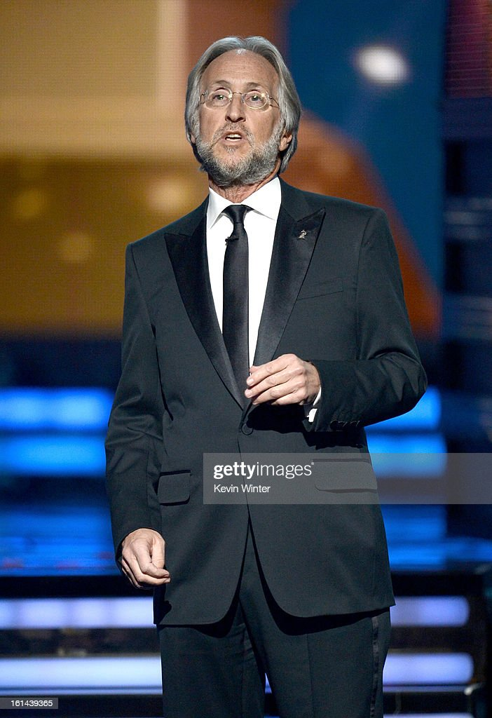 President/CEO of The Recording Academy Neil Portnow speaks onstage during the 55th Annual GRAMMY Awards at STAPLES Center on February 10, 2013 in Los Angeles, California.