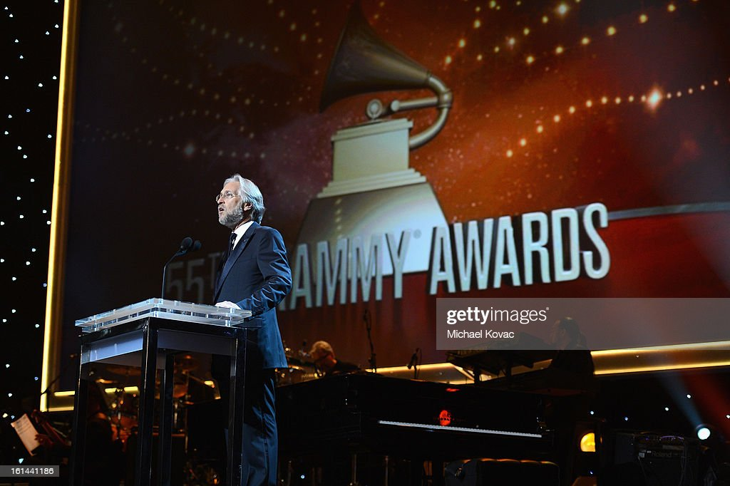 President/CEO of The Recording Academy <a gi-track='captionPersonalityLinkClicked' href=/galleries/search?phrase=Neil+Portnow&family=editorial&specificpeople=208909 ng-click='$event.stopPropagation()'>Neil Portnow</a> speaks onstage during the 55th Annual GRAMMY Awards at NOKIA Theatre L.A. Live on February 10, 2013 in Los Angeles, California.