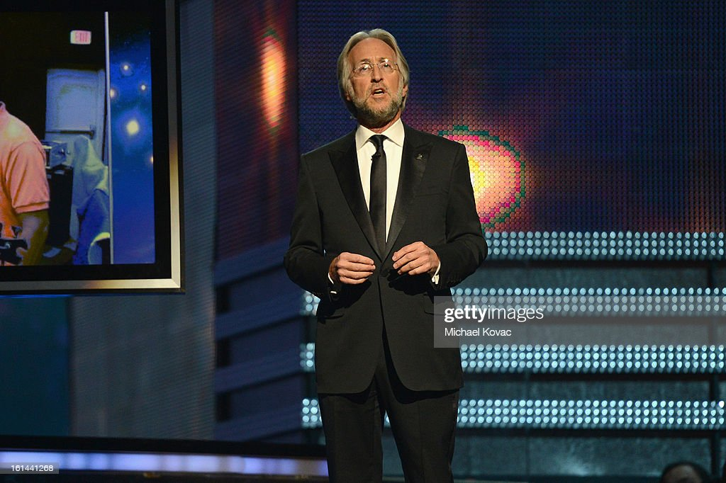 President/CEO of The Recording Academy Neil Portnow speaks onstage during the 55th Annual GRAMMY Awards at NOKIA Theatre L.A. Live on February 10, 2013 in Los Angeles, California.