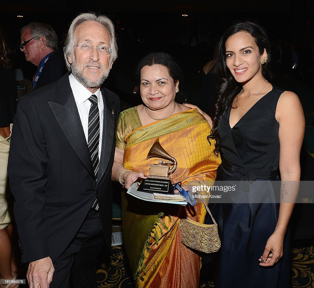 President/CEO of The Recording Academy <a gi-track='captionPersonalityLinkClicked' href=/galleries/search?phrase=Neil+Portnow&family=editorial&specificpeople=208909 ng-click='$event.stopPropagation()'>Neil Portnow</a>, Sukanya Shankar, and musician <a gi-track='captionPersonalityLinkClicked' href=/galleries/search?phrase=Anoushka+Shankar&family=editorial&specificpeople=680230 ng-click='$event.stopPropagation()'>Anoushka Shankar</a> attend The 55th Annual GRAMMY Awards Special Merit Awards Ceremony on February 9, 2013 in Los Angeles, California.