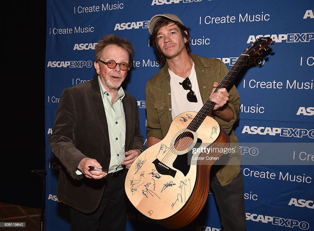 President/Chairman Paul Williams (L) and singer-songwriter <a gi-track='captionPersonalityLinkClicked' href=/galleries/search?phrase=Nate+Ruess&family=editorial&specificpeople=6897270 ng-click='$event.stopPropagation()'>Nate Ruess</a> pose with a #StandWithSongwriters guitar, which will be presented in May to members of Congress to urge them to support reform of outdated music licensing laws, during the 2016 ASCAP 'I Create Music' EXPO on April 29, 2016 in Los Angeles, California.