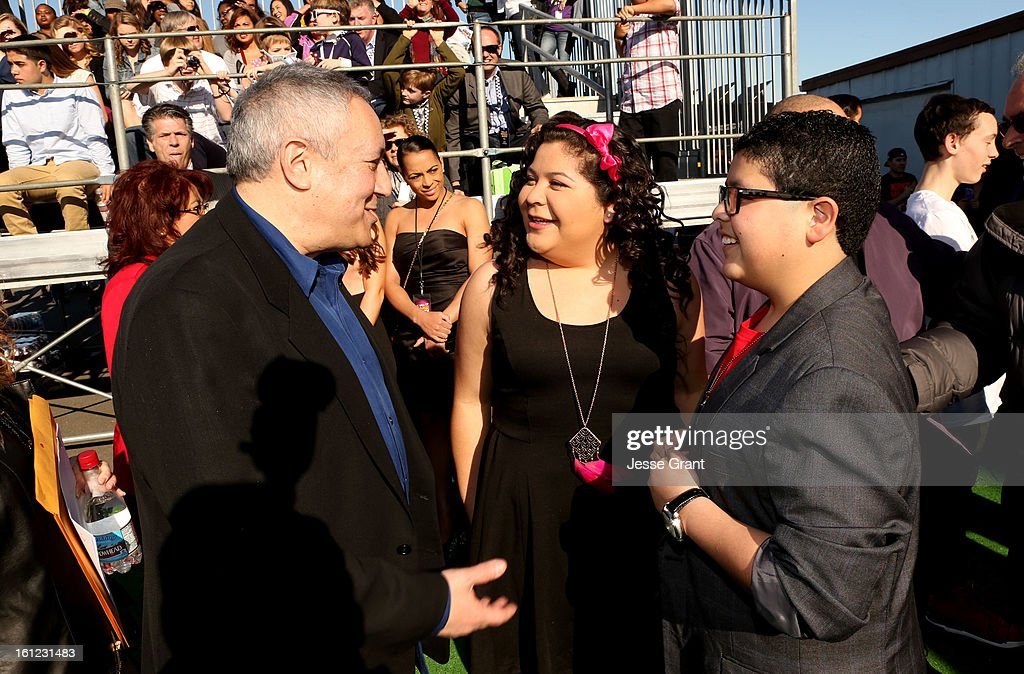 President/COO of Cartoon Network, Stuart Snyder, actors Raini Rodriguez and Rico Rodriguez attend the Third Annual Hall of Game Awards hosted by Cartoon Network at Barker Hangar on February 9, 2013 in Santa Monica, California. 23270_002_JG_0328.JPG