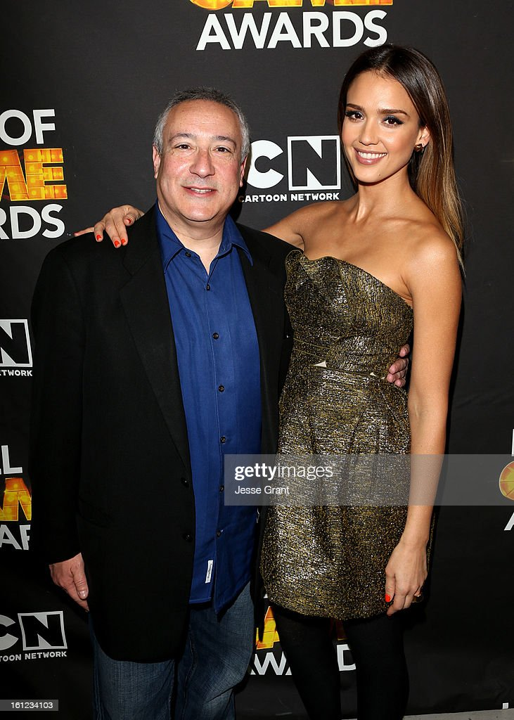 President/COO of Cartoon Network, Stuart Snyder and actress <a gi-track='captionPersonalityLinkClicked' href=/galleries/search?phrase=Jessica+Alba&family=editorial&specificpeople=201811 ng-click='$event.stopPropagation()'>Jessica Alba</a> attend the Third Annual Hall of Game Awards hosted by Cartoon Network at Barker Hangar on February 9, 2013 in Santa Monica, California. 23270_004_JG_0127.JPG