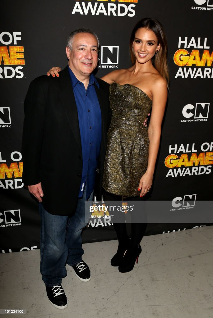 President/COO of Cartoon Network, Stuart Snyder and actress <a gi-track='captionPersonalityLinkClicked' href=/galleries/search?phrase=Jessica+Alba&family=editorial&specificpeople=201811 ng-click='$event.stopPropagation()'>Jessica Alba</a> attend the Third Annual Hall of Game Awards hosted by Cartoon Network at Barker Hangar on February 9, 2013 in Santa Monica, California. 23270_004_JG_0134.JPG