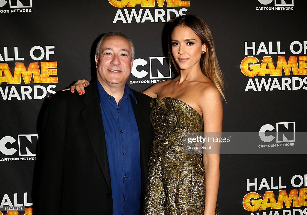 President/COO of Cartoon Network, Stuart Snyder and actress Jessica Alba attend the Third Annual Hall of Game Awards hosted by Cartoon Network at Barker Hangar on February 9, 2013 in Santa Monica, California. 23270_004_JG_0134.JPG