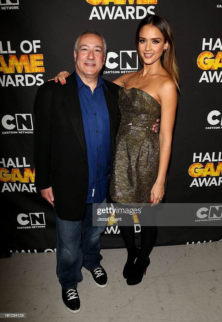 President/COO of Cartoon Network, Stuart Snyder and actress Jessica Alba attend the Third Annual Hall of Game Awards hosted by Cartoon Network at Barker Hangar on February 9, 2013 in Santa Monica, California. 23270_004_JG_0130.JPG