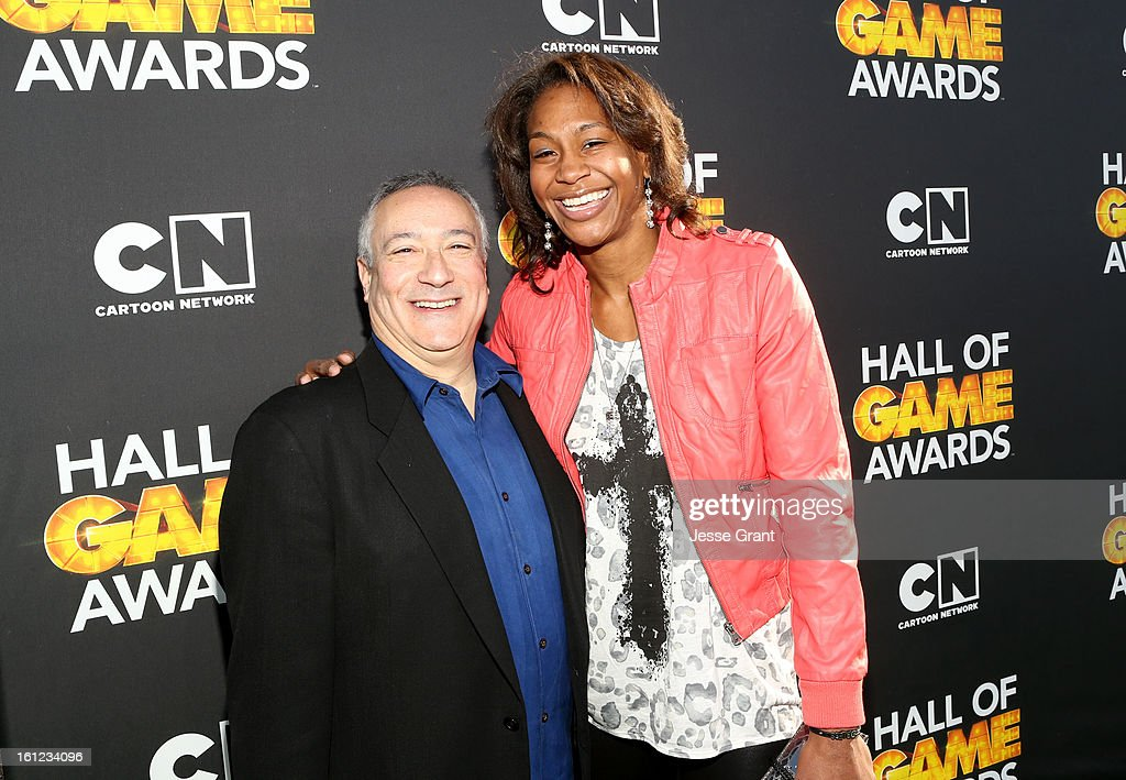 President/COO of Cartoon Network, Stuart Snyder (L) and Olympic basketball player Tamika Catchings attend the Third Annual Hall of Game Awards hosted by Cartoon Network at Barker Hangar on February 9, 2013 in Santa Monica, California. 23270_002_JG_0338.JPG