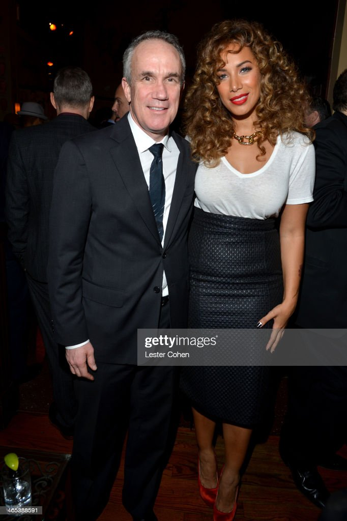 President/COO of RCA Records Tom Corson (L) and singer Leona Lewis attend Sony Music Entertainment Post-Grammy Reception at The Palm on January 26, 2014 in Los Angeles, California.