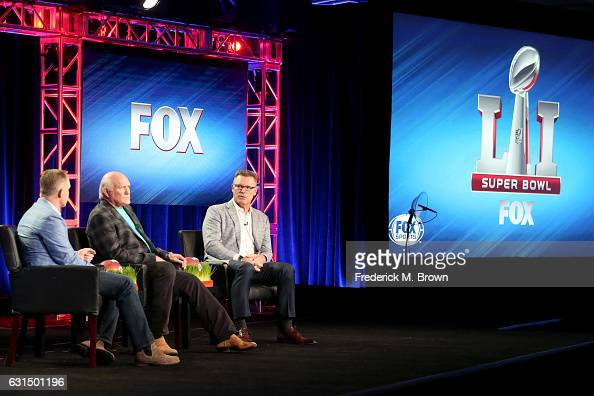 President/COO/Executive Producer of FOX Sports Eric Shanks FOX NFL Sunday cohost Terry Bradshaw and FOX NFL Sunday Analyst Howie Long of the...