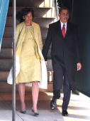 Presidentelect Barack Obama and his wife Michelle Obama depart Blair House before his Inauguration as the 44th president of the United States of...