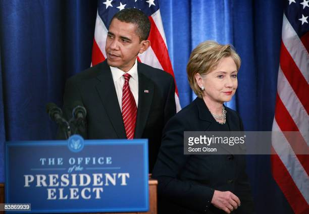 Presidentelect Barack Obama and Senator Hillary Clinton leave a press conference after she was named his choice for secretary of state at the Hilton...