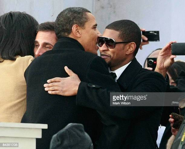 S Presidentelect Barack Obama gets a hug from Usher during the 'We Are One The Obama Inaugural Celebration at The Lincoln Memorial' January 18 2009...