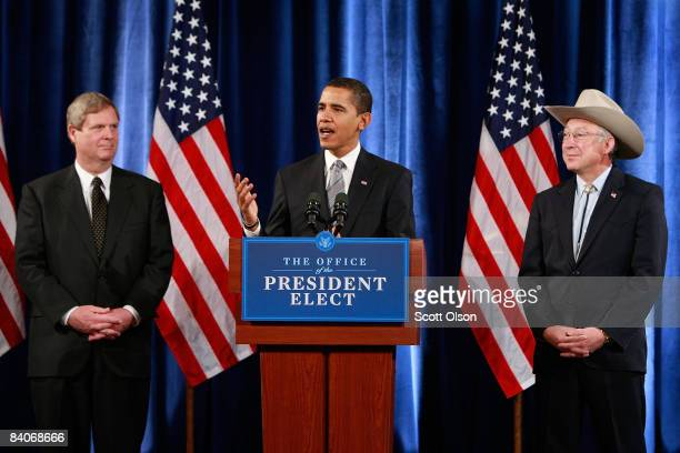 Presidentelect Barack Obama introduces former Iowa Governor Tom Vilsack as his choice for agriculture secretary and US Senator Ken Salazar as his...